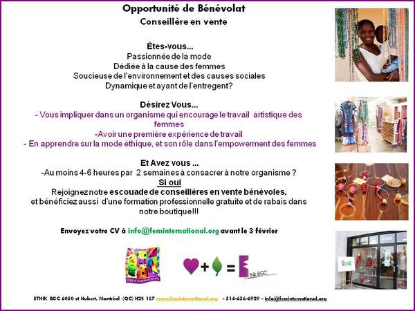 Affiche benevole boutique